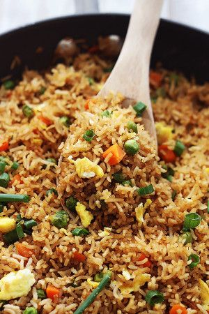 The Best Fried Rice -      4 cups cooked brown or white rice     1 cup frozen peas and diced carrots     1 egg, whisked     ⅓ cup soy sauce     1 tablespoon oil     1 teaspoon garlic powder     1 teaspoon onion powder     1 teaspoon chili powder     ½ teaspoon ground ginger (optional)     3 green onions, diced