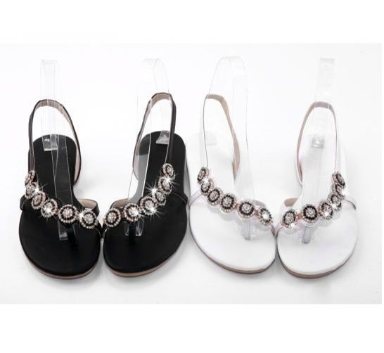 Sandalo donna elegante tacco basso con strass