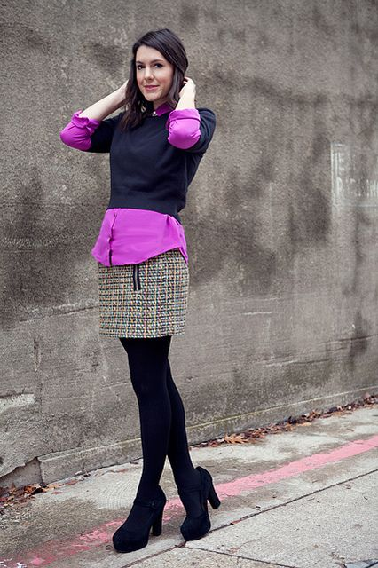 Brights for Fall!: Colored Tights, Adorable Outfits, Style Clothes Dresses, Closet My Style, Fall, Fashion Inspiration, Purple Tights Outfit, Color Pop, Cute Skirts