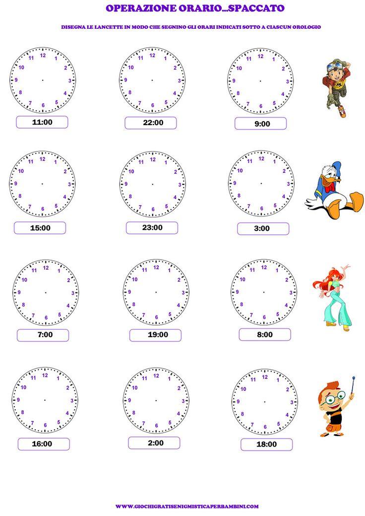 Esercizio per imparare a leggere l 39 orologio progetti da - Atterrare prima del tempo caratteri ...
