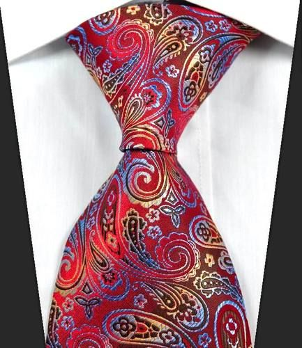 Red Blue Paisley Classic Silk Men's Necktie. This would be perfect with a black or dark grey shirt and a sweater