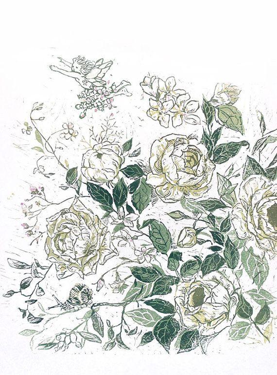 White Roses Art printfloral printFlower Art by ElfinLilac on Etsy