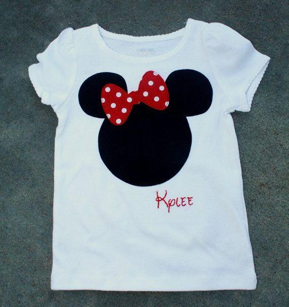 Camisa de Minnie Mouse Applique encargo rojo o rosado