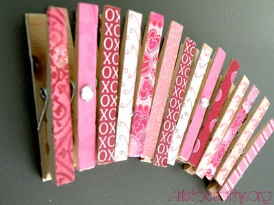 mod podge laundry clips to hang valentine's up!