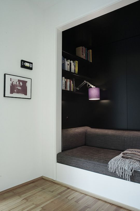 Black it out: Conversely, you can create your own personal cave by painting the inside black or an equally dark hue. Bearskin, campfire and primitive tools not necessary. @apartment therapy