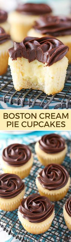 Boston Cream Pie Cupcakes - a moist, fluffy vanilla cupcake with pastry cream filling and a chocolate ganache rosette on top! Beautiful and delicious!: