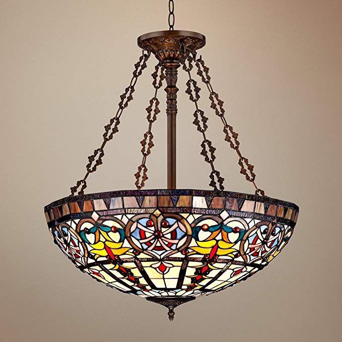 Ornamental Tiffany Style 24 Wide Art Glass Pendant Light
