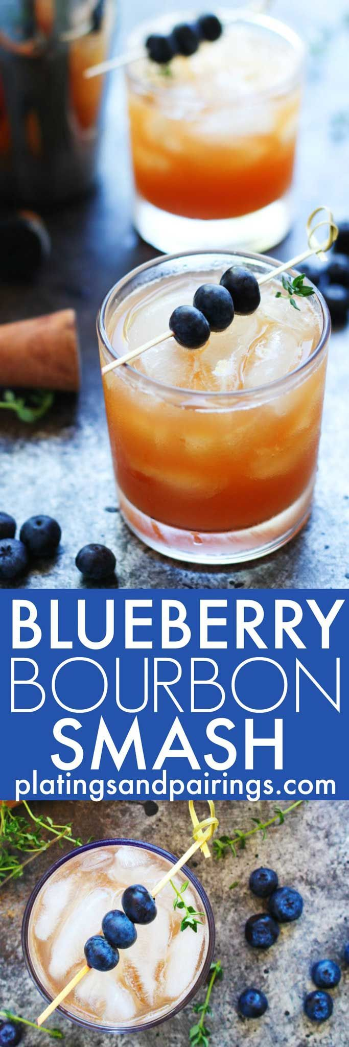 This Blueberry Bourbon Smash Cocktail combines fresh blueberries ...
