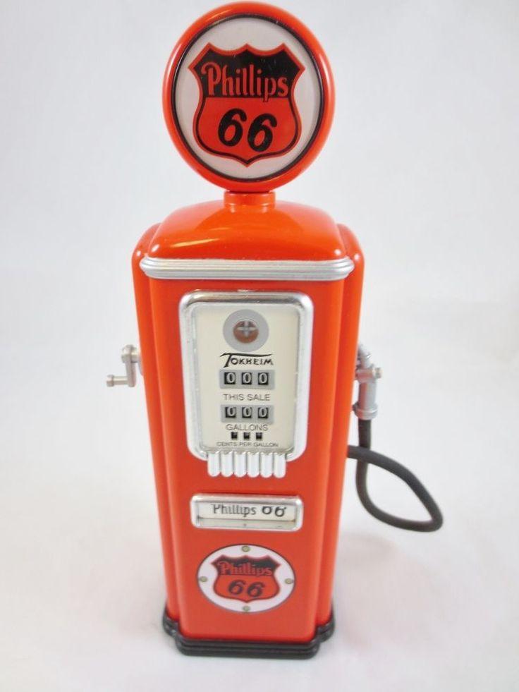 Gear Box Locking Die-Cast Toy Gas Pump Coin Bank, PHILLIPS 66-ORANGE PUMP