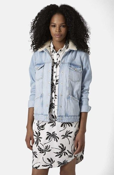 Free shipping and returns on Topshop Denim Jacket with Faux Shearling Collar at Nordstrom.com. Supersoft faux shearling lines the collar of a light-wash denim jacket embellished with gleaming snap buttons and an assortment of front pockets.
