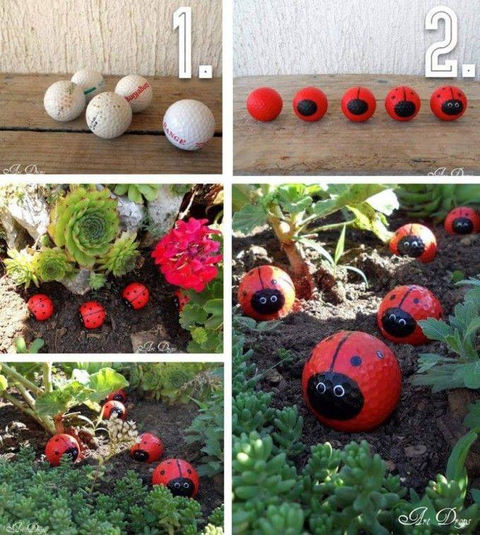 Insectos pintados pelota de golf Jardín señora