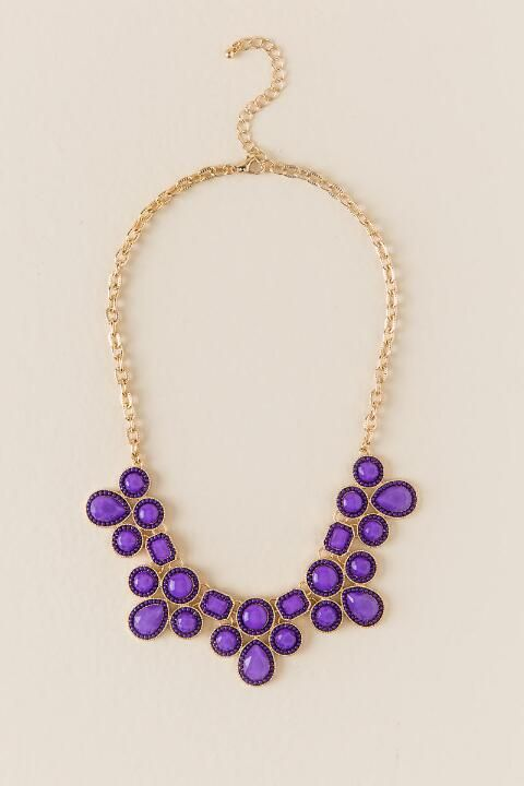 Game Day Inset Bead Statement Necklace in Purple- Purple