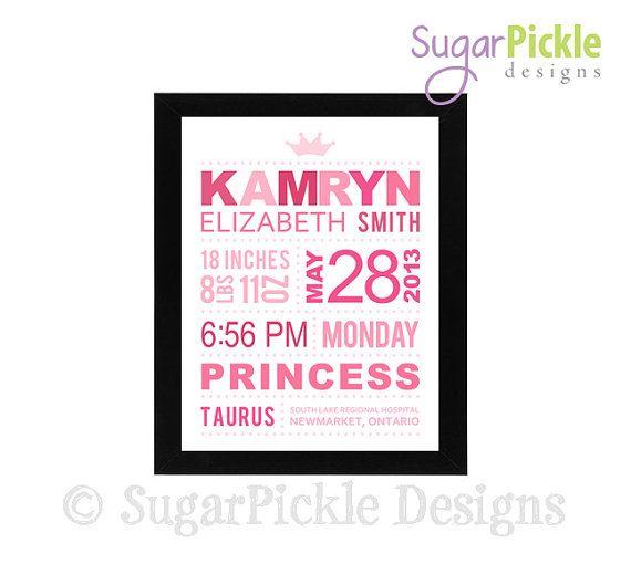 Princess Birth Details Print Birth by SugarPickleDesigns on Etsy, $19.50