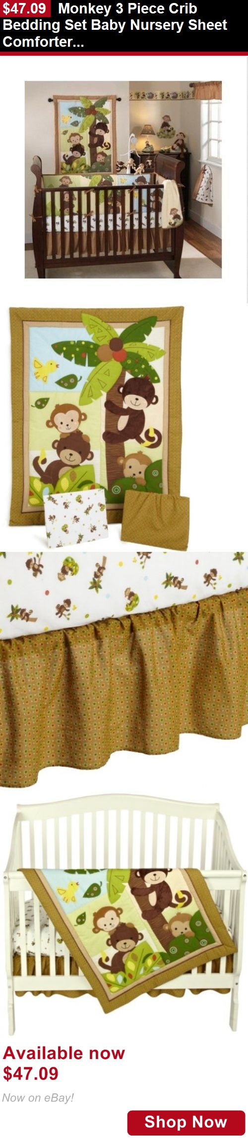 Nursery Bedding Sets: Monkey 3 Piece Crib Bedding Set Baby Nursery Sheet Comforter Infant Bed Quilt BUY IT NOW ONLY: $47.09