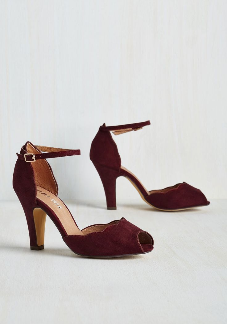 Scallop Your Alley Heel in Maroon. Its about time that a pair of pumps caters to your specific and sophisticated taste - and these sultry heels from Chelsea Crew truly deliver. #red #modcloth