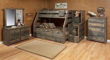 Pine Twin Over Full Bunk Bed in Rustic Grey with Optional Stairs at GoWFB.ca | Rustic Classics | Free Shipping