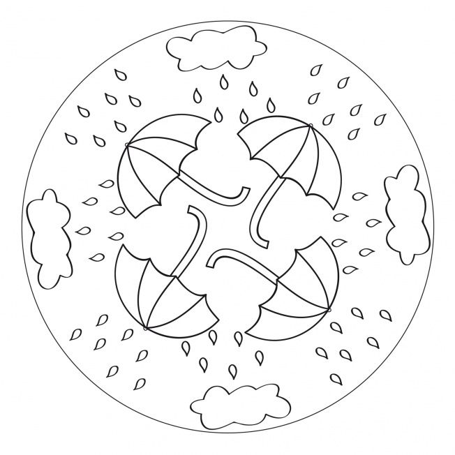 Rain Umbrella Mandala for kids to print and color as a rainy day activity! From www.kigaportal.com
