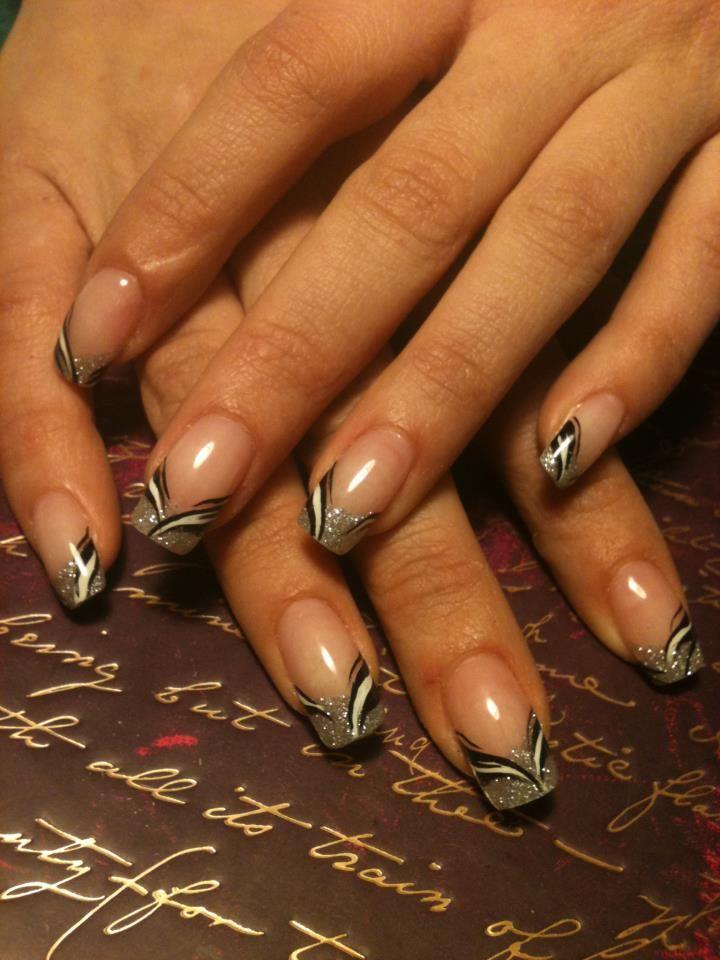 Noir argente nail art pinterest manicure ongles and fun nails - French manucure noir ...