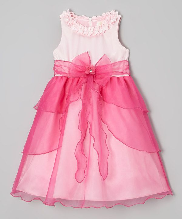 Loving this Fuchsia Bow Tiered Overlay Dress - Toddler & Girls on #zulily! #zulilyfinds