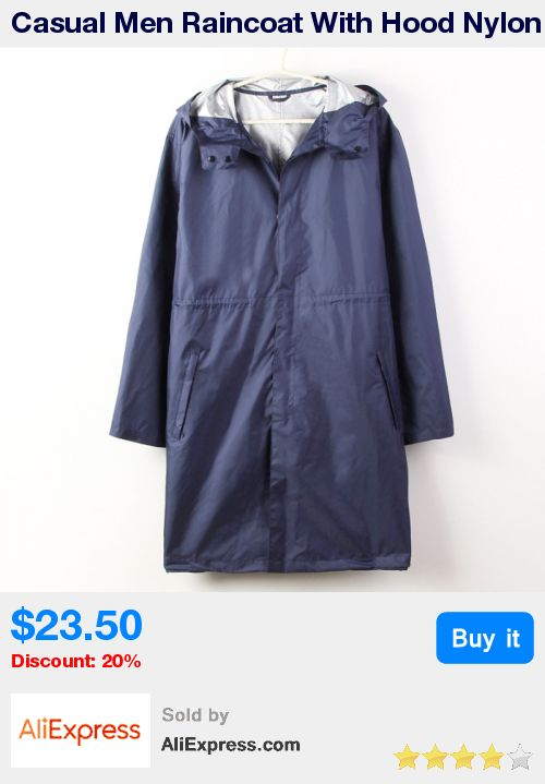 Casual Men Raincoat With Hood Nylon Rainwear Outdoor Waterproof Rain Poncho * Pub Date: 01:27 Apr 23 2017