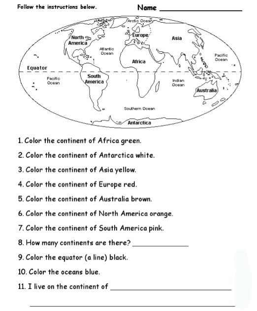 Labeling Continents And Oceans Worksheet