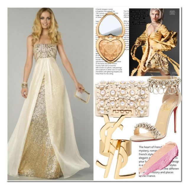 """""""Trägerloser Ausschnitt Chiffon trägerlose Abendkleid"""" by johnnymuller on Polyvore featuring ZAC Zac Posen, Christian Louboutin, Yves Saint Laurent, Too Faced Cosmetics and By Terry"""