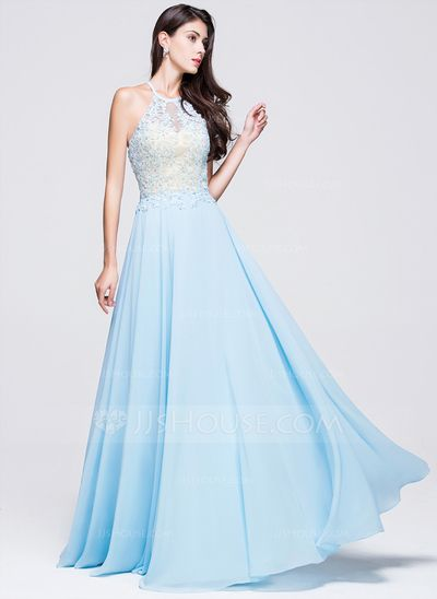 [ A-Line/Princess Scoop Neck Floor-Length Chiffon Prom Dress With Beading  Appliques Lace Sequins