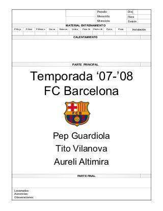 Pep Guardiola - Sesiones de Entrenamiento