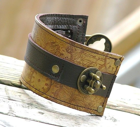 Steampunk Leather cuff with pocket (like a wallet) $80.00