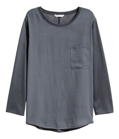 Top with Woven Front Section   Dark gray   Ladies   H&M US