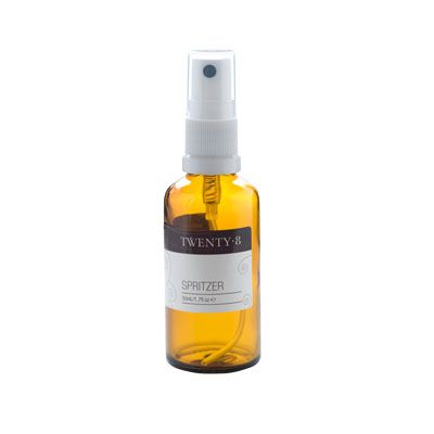 50ml Glass Spitzer bottle $5.95. Create your aromatic Spritzer either as a face hydrator, mind clearer or room freshener. Fill with filtered water then add 4 drops of your chosen essential oil. http://www.twenty8.com/online-store/aromatherapy-tools/spritzer-bottle-50ml