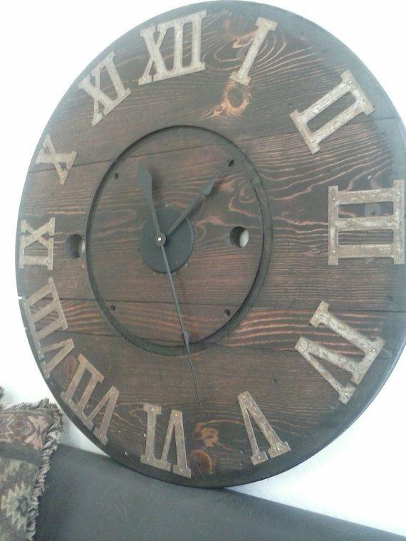Rustic Wall Clock Huge Wooden Clock Spool by HadleeRaeWoodDesigns