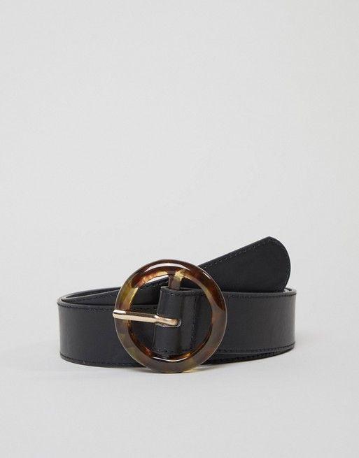 bc2d8800fc06c Glamorous tortoiseshell circle buckle black waist and hip jeans belt ...