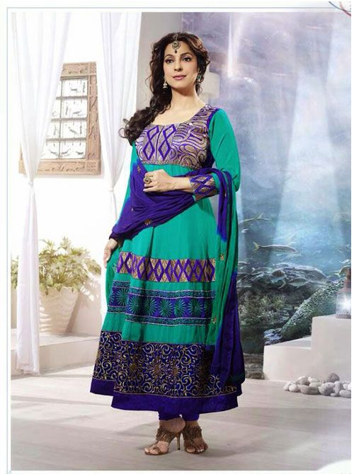 SV-KA0186 at JUST @ $74 Buy at http://www.shopvhop.com/product/dull-green-juhi-chawala-designer-collection-16010/
