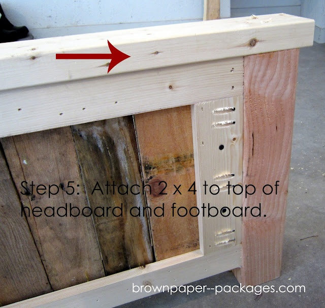 Pallet headboard footboard how to pinterest for How to make a wood pallet headboard