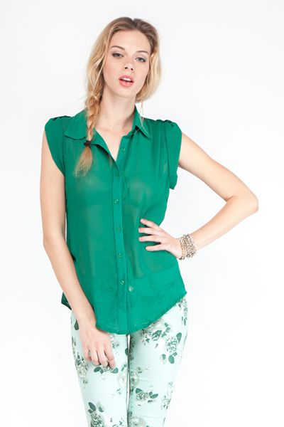 Effortlessly Sexy Paris Green Chiffon Top