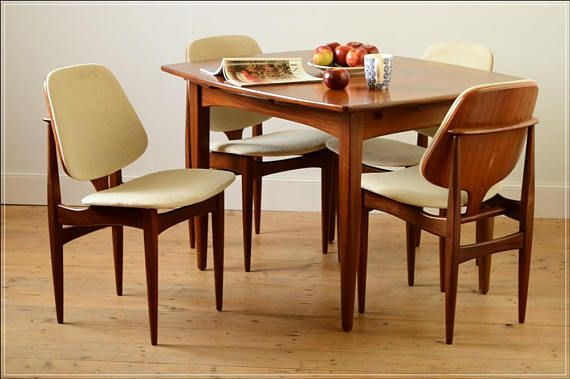 Dining Chair Chairs Only Teak Vintage Mid Century Eon Danish Design Set Of 4