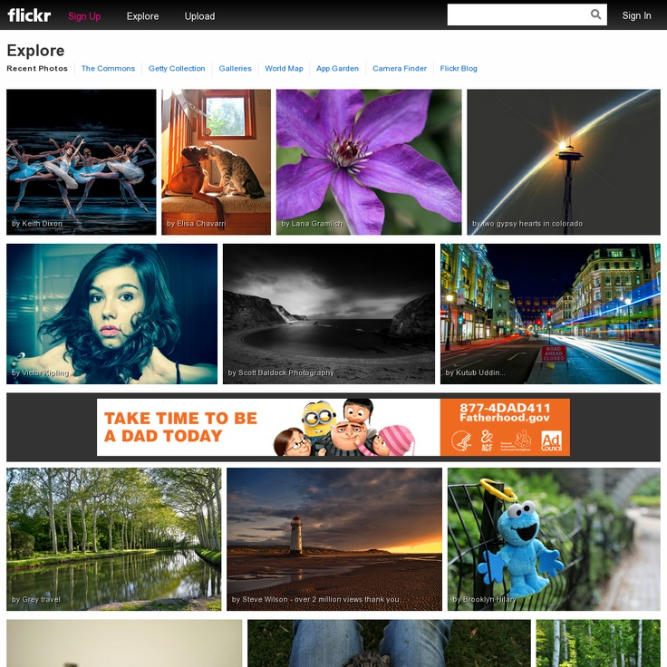 Flickr is a platform to store, search, sort and share your photos online, but also to organize the immense amount of your photos - http://www.flickr.com/explore/