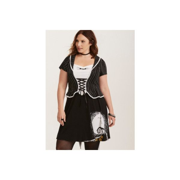 Torrid Disney Nightmare Before Christmas Jack Skater Dress (52 CAD) ❤ liked on Polyvore featuring dresses, plus size, skater dresses, plus size halloween costumes, torrid costumes, sally halloween costume, plus size costumes and sally costume