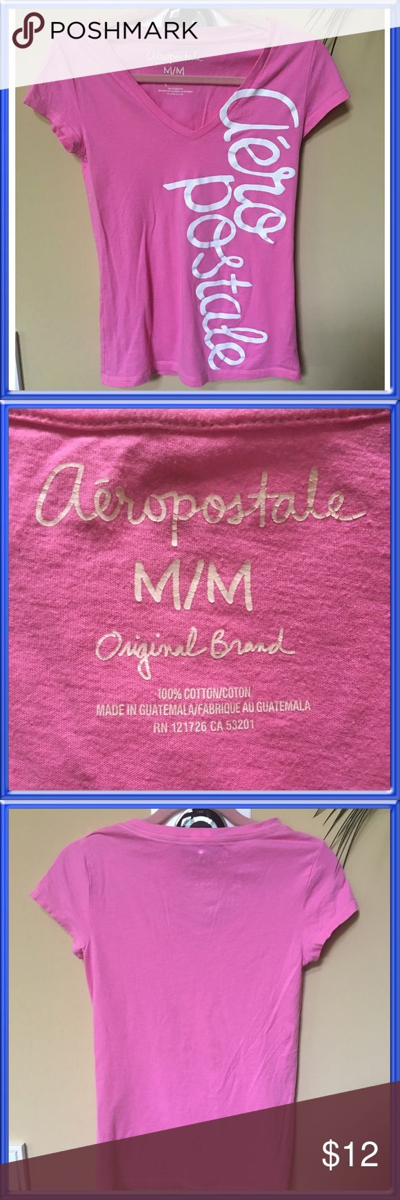 Aeropostale Pink Cap Sleeve V Neck T Super soft pink Aeropostale T Shirt.Capped sleeves and deep V neck with white Aeropostale graphic on front.Excellent condition.Women's Medium. Aeropostale Tops Tees - Short Sleeve
