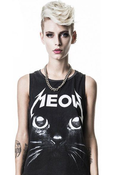 Women black tank top Punk rock tank top Cat print por PLASTICJUS