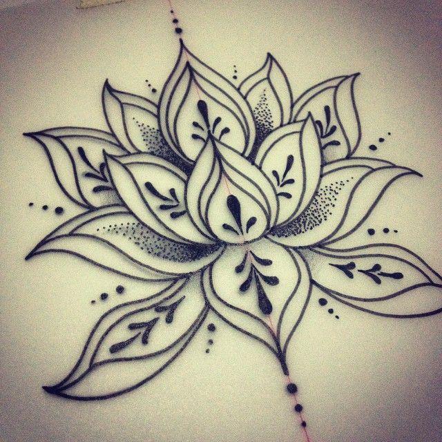 Lotus flower line art.