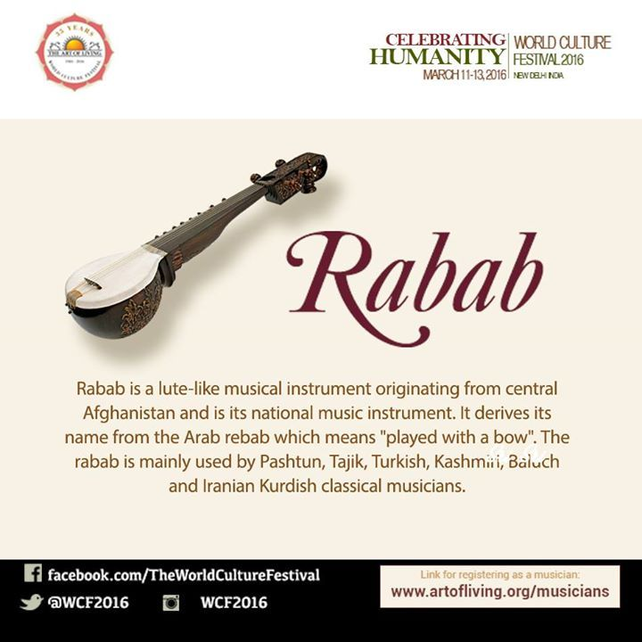 #Rabab is the #national #music #instrument of #Afghanistan. It lends the #magic touch to #sufi music. Be a part of the melodious #Rabab symphony at #WCF2016  Register Today: http://www.artofliving.org/world-culture-festival#/musician-registration