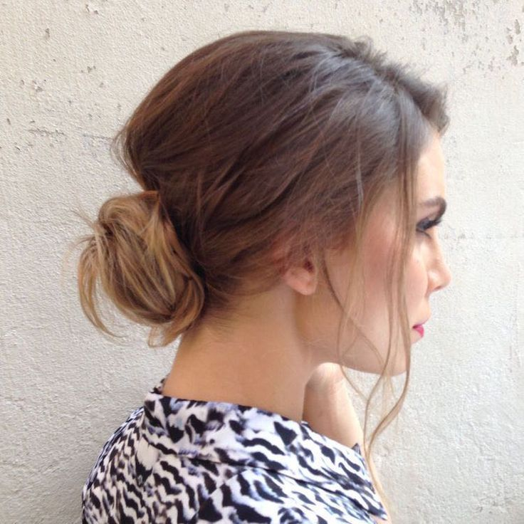 Nina Senicar, low messy chignon, updo, Makeup & Hair by Elisa Rampi
