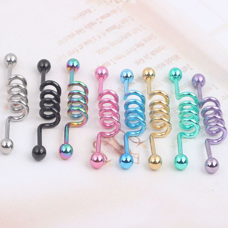 IndustriaL Bar Titanium Industrial Cork Screw Barbell 14G 2pcs Body jewelry Ear Piercing Barbell