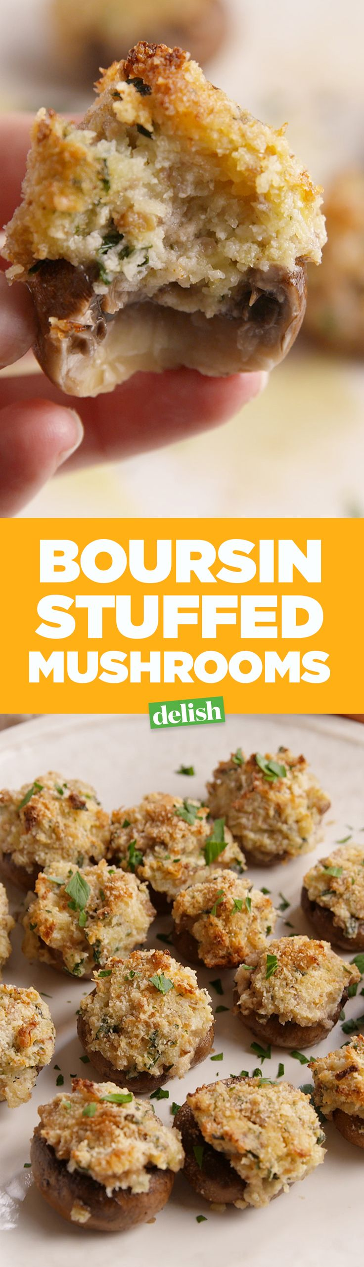 Boursin lovers, you need these Boursin-Stuffed Mushrooms right now. Get the recipe on Delish.com.