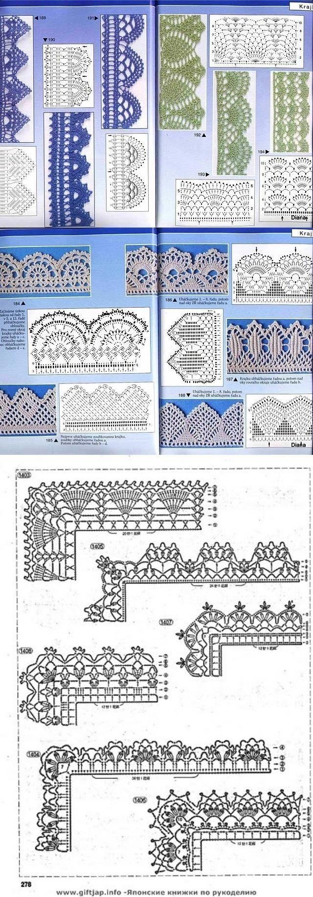 Many Free crochet edging diagram, chart patterns.