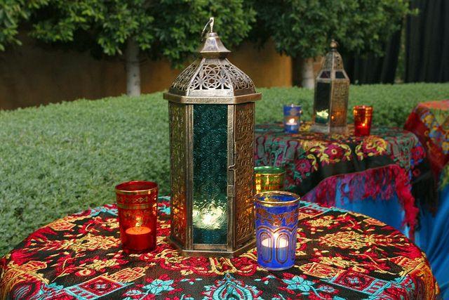 Arabian night themed party decoration. Table setting idea. Lanterns, via Flickr.