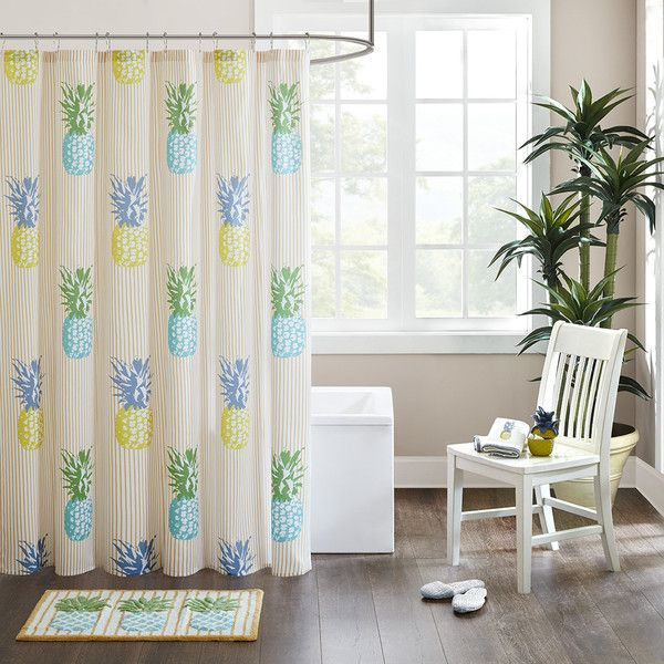 HipStyle Kona Cotton Printed Shower Curtain ($27) ❤ liked on Polyvore featuring home, bed & bath, bath, shower curtains, decor, pineapple, orange area rug, teal blue area rugs, teal rug and rectangle rugs