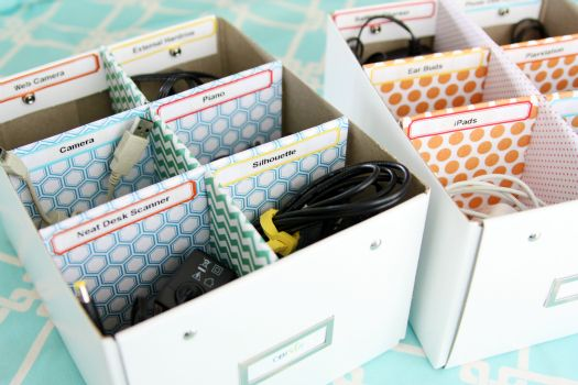 tips for cord storage + making your own dividers from cardboard scraps and scrapbook paper: Good Ideas, Cardboard Boxes, Organizations Ideas, Storage Boxes, Organizations Cords, Scrapbook Paper, Cords Organizations, Cords Storage, Storage Ideas